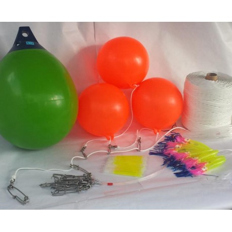 500 meter long line 3.5mm with floats and 10 snoods for fish 10-100kg