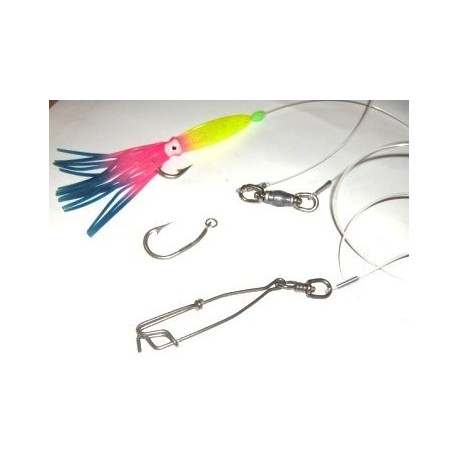"""SS hook 3.4"""" - 10m monofilament 1.8mm with snap 100mm and squid lure pack of 100"""