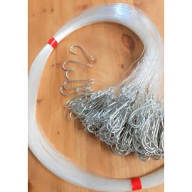 Sedales de bacalao / robalo mediano y fletán negro Tipo de gancho 33975 12/0 con suministro de 0,90 mm 1 metro Paquete de 100