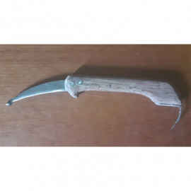 Gaff with knife, wooden handle